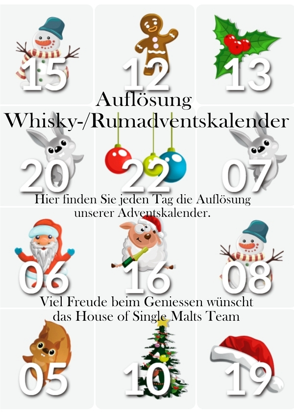 Auflösung Whisky- und Rum-Adventskalen..