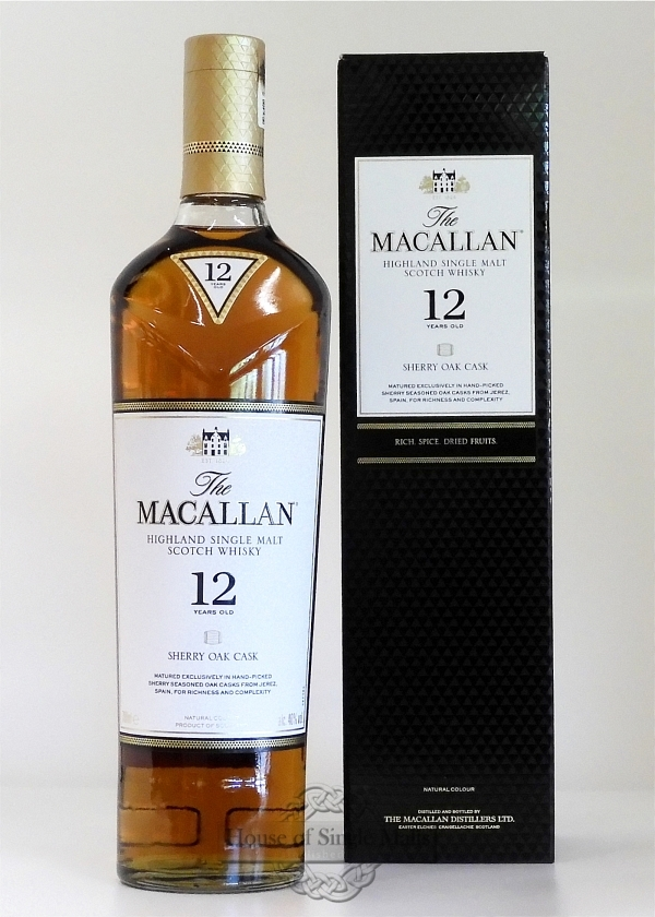 Macallan 12 Years (Sherry Oak Casks) Neue Flaschenform!